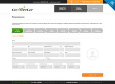 Página com formulário para financiamento de veículos.
