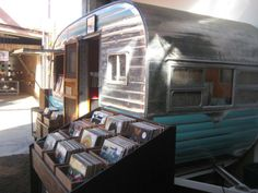 Record store in a vintage camper.