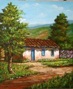 Landscape paintings acrylic ideas 35 ideas for 2019 Watercolor Landscape, Landscape Art, Landscape Paintings, Watercolor Paintings, Barn Paintings, Pictures To Paint, Art Pictures, Acrilic Paintings, Cottage Art