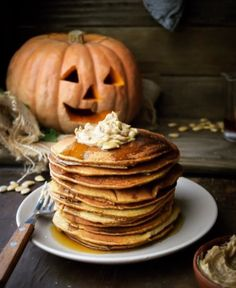 """guardians-of-the-food: """" Honey Whole Wheat Pumpkin Pancakes with Maple Cinnamon Butter """""""