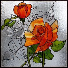 Roses Art Glass ~ by Robert Oddy