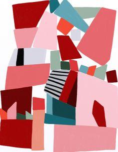 pink blocks Art Print