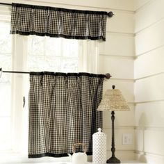 Kitchen Window: Ballard Designs Cafe Panel and Valance in Small Toffee Check French Country Kitchens, Kitchen Window Treatments, Craftsman Kitchen, Primitive Kitchen, Country Primitive, Drapery Panels, Panel Curtains, Kitchen Curtains, Farmhouse Curtains