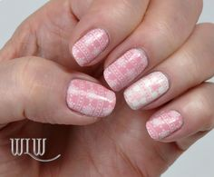 """Lola's Holiday Mani No. 3:  OPI """"Pink Friday"""" stamped with MoYou Festive Collection 03 image plate and OPI """"Alpine Snow""""."""