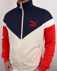 Puma Icon MCS Track Jacket in White/Navy/Red,puma icon mcs track top Sports Jacket, Nike Jacket, Sport Outfits, Gym Outfits, Fitness Outfits, Dope Outfits For Guys, Mens Outdoor Jackets, Sergio Tacchini, Track Suit Men