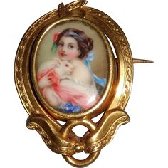 19th Century French Enamel Miniature Portrait with White Rabbit from Perry-Joyce Fine Arts on #RubyLane
