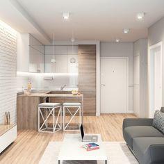 concept of apartment arrangement, example developer Condo Interior Design, Small Apartment Interior, Small Apartment Kitchen, Small Apartment Design, Small Space Design, Small Apartments, Bright Apartment, Studio Apartments, Apartment Living