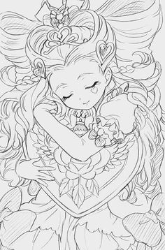 Coloring Book Art, Cute Coloring Pages, Cartoon Coloring Pages, Adult Coloring Pages, Anime Lineart, Dark Art Drawings, Anime Sketch, Copics, Anime Art Girl