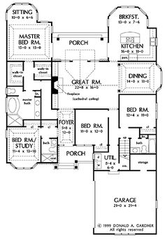 floor plans aflfpw05093 1 story craftsman home with 4 bedrooms 3 bathrooms and 2290 - Blueprints For Homes