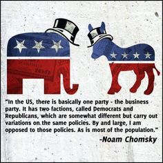 ~ Noam Chomsky ~   Republicans and Democrats are pitted against each other, never realizing their undeniable similarities.