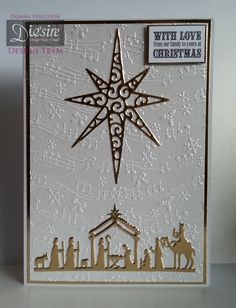 Crafter's Companion; Classique Christmas Collection Star of Wonder Die Nativity Die Vintage Music folder Christmas Sentimental stamp Centura pearl card