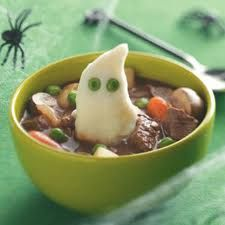 Ghost Stew!  If your kids hesitate to eat stew, Make a ghost mashed potato and plop it on top, use peas for eyes and I think they will gobble, gobble...