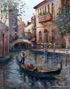 "Lew Gordon has shown how the river goes through the city in Venetian Colors. This print is signed and numbered with a certificate of authenticity and is available unframed in size 22""x18"""