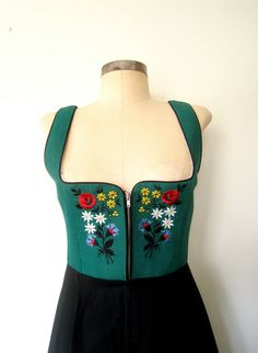 Vintage Floral Embroidered DIRNDL DAMSEL Dress by LolaVintage on Etsy.