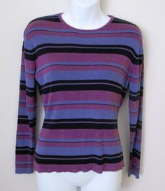 Talbots Size S Silk Crew Neck Sweater Navy Periwinkle Orchid Stripes