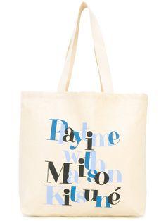 MAISON KITSUNÉ Play Time tote. #maisonkitsuné #bags #hand bags #tote #cotton #