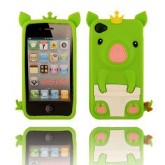 BYG Green 3D Pig Cartoon Animal Silicone Case Cover for Iphone 4/4G 4S + Gift 1pcs Phone Radiation Protection Sticker by animal devise, http://www.amazon.com/dp/B00CMSMAIS/ref=cm_sw_r_pi_dp_mOPHrb17F7NVX
