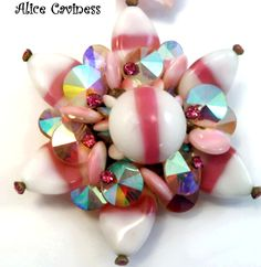 Vintage Costume Jewelry ALICE CAVINESS  Pink Milk  Glass Rhinestoe Brooch Pin    #AliceCaviness
