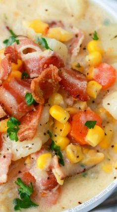 Easy Slow Cooker Corn Chowder ~ Fresh vegetables, chunks of tender potato, and smoky bacon add so much flavor while the creamy corn base adds a touch of sweetness.