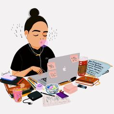 working illustration The Effective Pictures We Offer You About studying motivation inspiration A qua Motivation Diet, Study Hard, Study Inspiration, Cute Illustration, Illustrations, Art Inspo, Art Girl, Chibi, Art Drawings