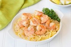 Shrimp scampi with pasta is the kind of restaurant dish we crave. But the pasta! The butter! The high calorie count! Forget all those things -- our Spaghetti Squash Shrimp Scampi recipe is what you. Spaghetti Squash Shrimp Scampi, Spaghetti Squash Recipes, Monte Cristo Sandwich, Low Calorie Recipes, Healthy Recipes, Diet Recipes, Diet Tips, Easy Recipes, Dessert Recipes