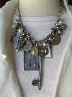 Soldered Charm Glass Pendant Necklace Charmed Vintage by Margolinn, $72.00