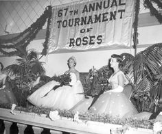 """Tournament of Roses Court with banner: Annual Tournament of Roses"""" Vintage Happy New Year, Digital History, Over The Hill, Oldies But Goodies, Tiaras And Crowns, 21st Birthday, Holiday Parties, Pageant, Fancy Dress"""