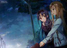 Anime 3500x2523 anime anime girls Sword Art Online Yuuki Asuna Konno Yuuki rain