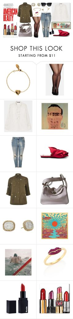 """""""Weekend Look - Fishnets and Ripped Jeans"""" by virtudiaries ❤ liked on Polyvore featuring Vivienne Westwood, City Chic, MANGO, River Island, N°21, Hermès, Delfina Delettrez, KosÃ¥s, Oliver Gal Artist Co. and MIANSAI"""