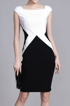 $55.99 Black And White Color Block Square Neck Dressproducts_id:(1000012537 or 1000012952 or 1000012392 or 1000012367)