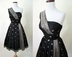 Erotic 1950's Black & Silver Party Cocktail Dress by wearitagain, $250.00
