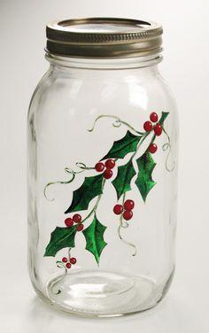 Christmas Gift - Quart Mason Jar with painted holly