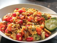 "Fiesta Corn & Avocado Salad (Cook Like a Pro: Tex-Mex Entertaining) - Ina Garten, ""Barefoot Contessa"" on the Food Network. Avocado Toast, Corn Avocado Salad, Avocado Salad Recipes, Tomato Salad, Avocado Dessert, Barefoot Contessa, Food Network Recipes, Cooking Recipes, Healthy Recipes"