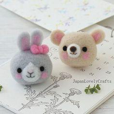 Bunny + Bear Strap - Japanese Needle Acrylic Fiber Felt  DIY Kit - tobira / Hiromi Shibatani -  Hamanaka Aclaine -  F84