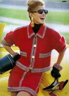 1990 Vogue US September. ''The News is Colour''. Photographer Patrick Demarchelier. Model Nikki Taylor. Chanel