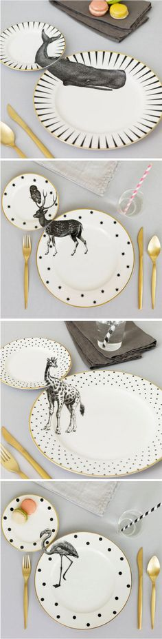 Yvonne Ellen gives forgotten vintage housewares a new lease on life by applying animal illustrations across matching dinner and side plates.: