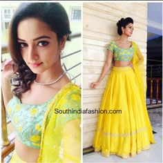 Sanvi Srivastava in Divya Reddy Lehenga – South India Fashion Blouse Lehenga, Half Saree Lehenga, Lehnga Dress, Anarkali, Lehenga Gown, Half Saree Designs, Lehenga Designs, Blouse Designs, Bridal Mehndi Dresses