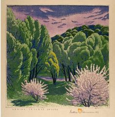 Gustave Baumann [1881-1971], Spring — Tesuque Valley, 1953 color woodcut Collection of the New Mexico Museum of Art.