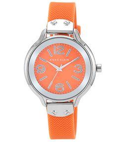 Anne Klein Women's Orange Silicone Strap Watch 38mm AK-1615OROR