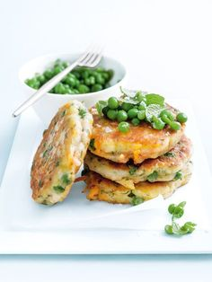 Sweet potato and pea fritters | Donna Hay