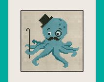 Dapper Octopus Cross Stitch Pattern  INC, BOGO,PDF counted cross stitch pattern,R124