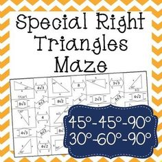 FREE Special Right Triangles Color By Number Activity
