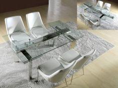 Tavoli Sala da Pranzo di vetro e acciaio : Modello DUBLIN