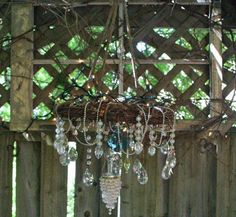 Phyllis' Garden Art: grapevine #wreath #chandelier for your #porch. Empress of Dirt