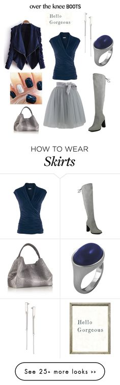 """""""Over the knee boots contest :  grey tulle skirt, navy blue top w leather jacket"""" by im-karla-with-a-k on Polyvore featuring H&M, Karen Kane, NADA SAWAYA and Topshop"""