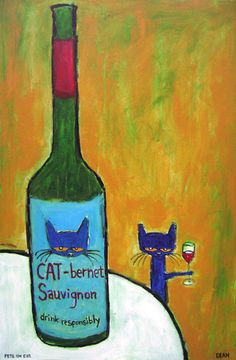 """Artist James Dean has gained fans throughout the country with his Pete the Cat paintings. On Saturday, Dean's latest series, named """"Think Responsibly, Drink Responsively: A Cat's Commentary on Wine Connoisseurship,"""" opens at The Seen Gallery in Decatur."""