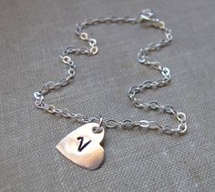 Personalized Heart Necklace. Initial Engraved by NadinNecklaces, $23.00