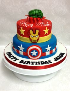 Two tier Superhero cake for Jason with characters Captain America, Iron Man and Hulk