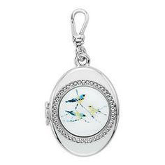 Trésors Birds on a Branch Locket Charm | Charm Collection # jewelry animal rhodium mother pearl cabochon