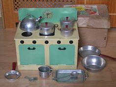 vintage toy utensiles | Vintage Chad Valley Tinplate Toy Cooking Stove Utensils Boxed | eBay